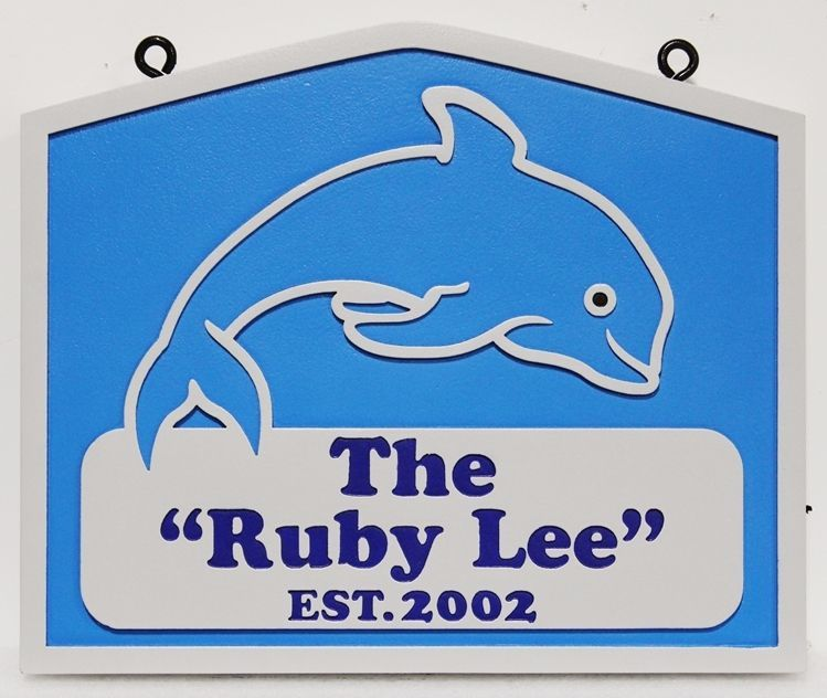 "L21390 - Carved  2.5-D Multi-level Relief HDU Coastal Residence Name  Sign ""The Ruby Lee"", with a Leaping Dolphin as Artwork"