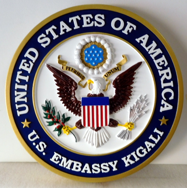 AP-3760 - Carved Plaque of the Seal of  Seal of the US Embassy in Kigali, Department of State, Artist-Painted