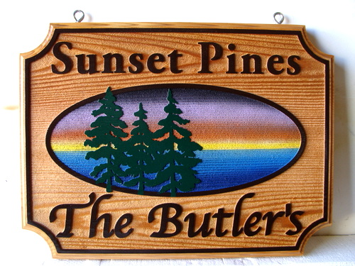 "M22372 - Carved Cedar Wood Property Name Sign ""Sunset Pines""  with Scene of Lake, Trees and Sunset"
