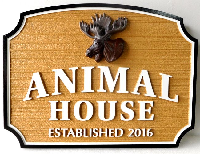 N23221 - Carved Wall Plaque with Moose Head and Sandblasted Wood Grain Background