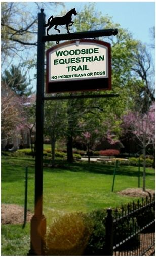 """P25602 - Entry Equestrian Trail Sign on Metal Signpost & Scroll Bracket Hanger, """"No Pedestrians or Dogs"""""""