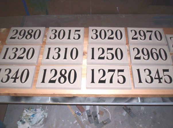 KA20865 - Carved HDU House or Commercial Building Address Numbers Mounted on Wood