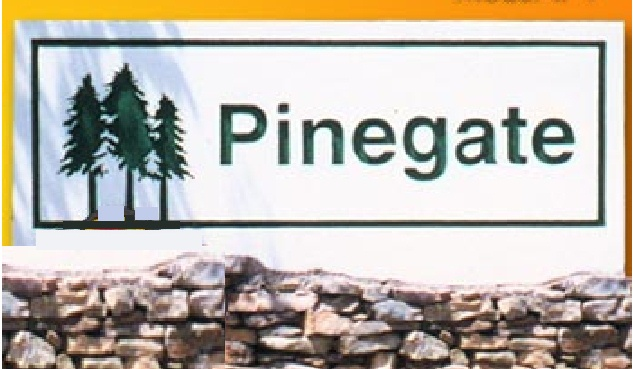 K20016 - Entrance Monument Sign to Pinegate Community, with Pine Tree Art