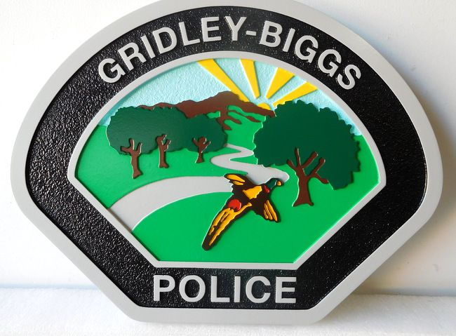 X33690 - Carved  Wall Plaque  of the Shoulder Patch of the Gridley-Biggs Police Department.