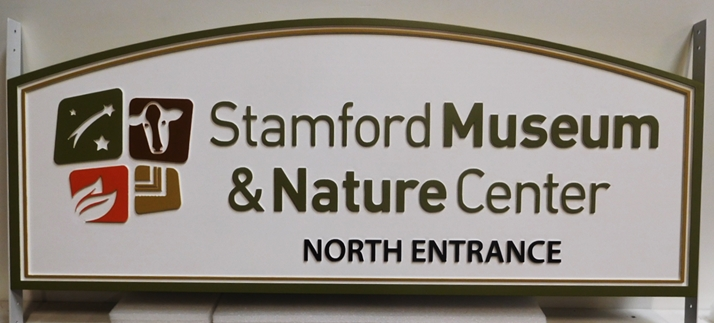 F15903 - Carved HDU Entrance Sign for the Stamford Museum and Nature Center, 2.5-D