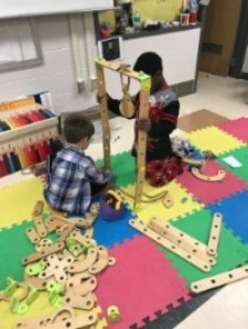 Kids playing with Rigamajig at school