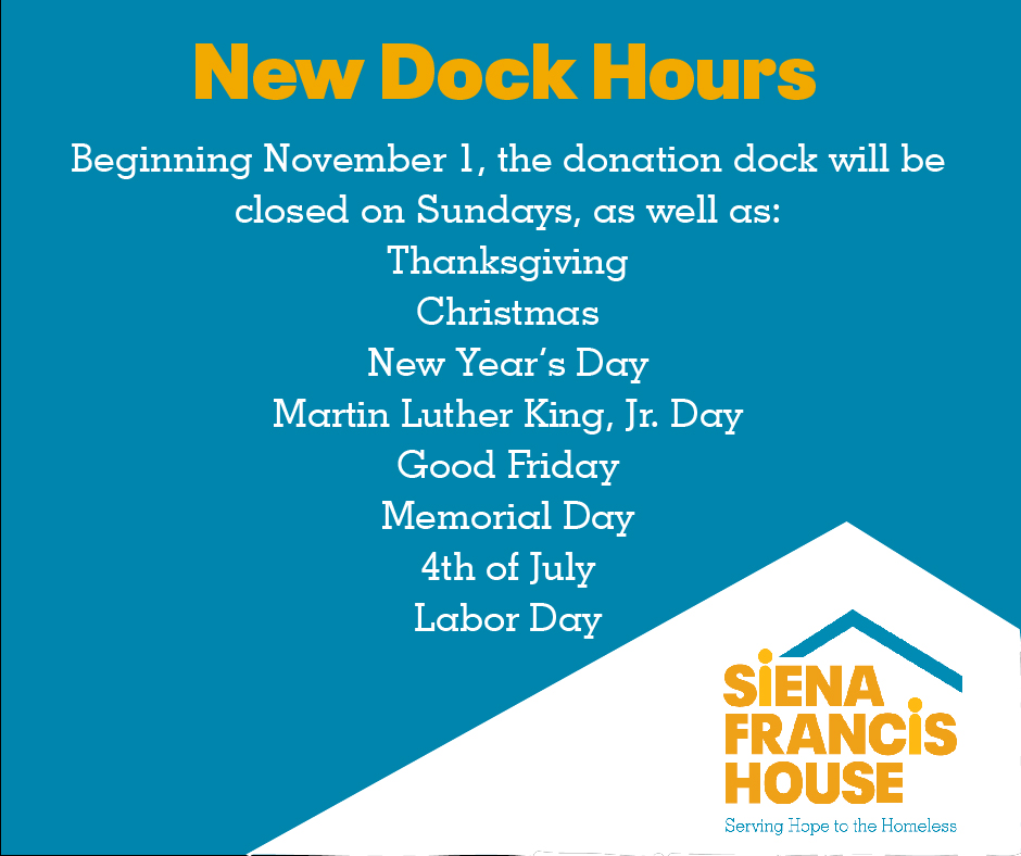 New Donation Dock Hours