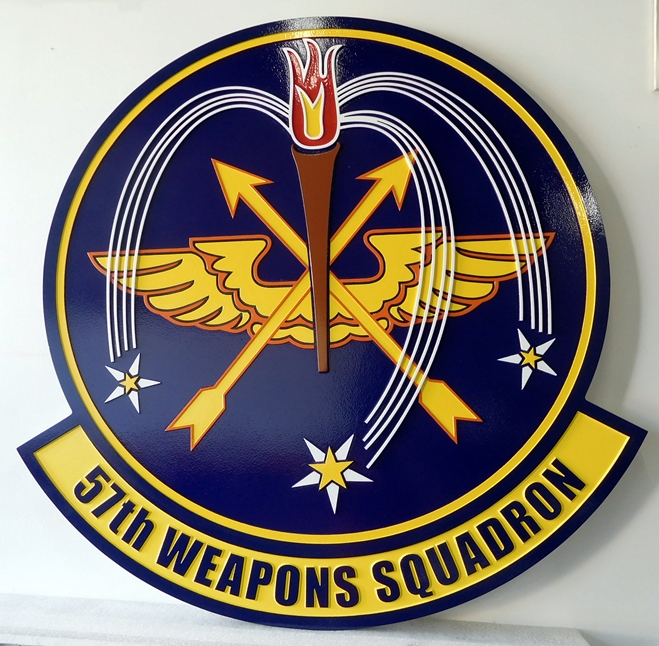 LP-2420 - Carved Round Plaque of the Crest of the 57th Weapons Squadron, Artist Painted