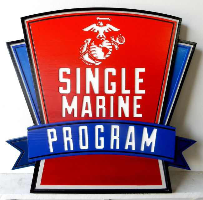 KP-2400 -  Carved Plaque of  the Insignia of the Single Marine Program,US Marine Corps,  Artist Painted
