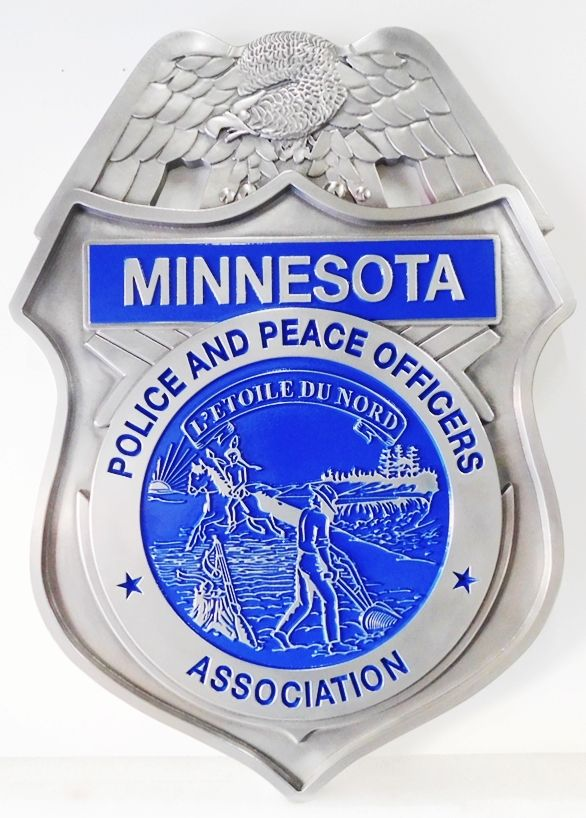 MD4205 -  Police Badge, Minnesota,  Aluminum 3-D