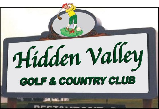 E14015 - Golf & Country Club Entrance Sign with Golfer