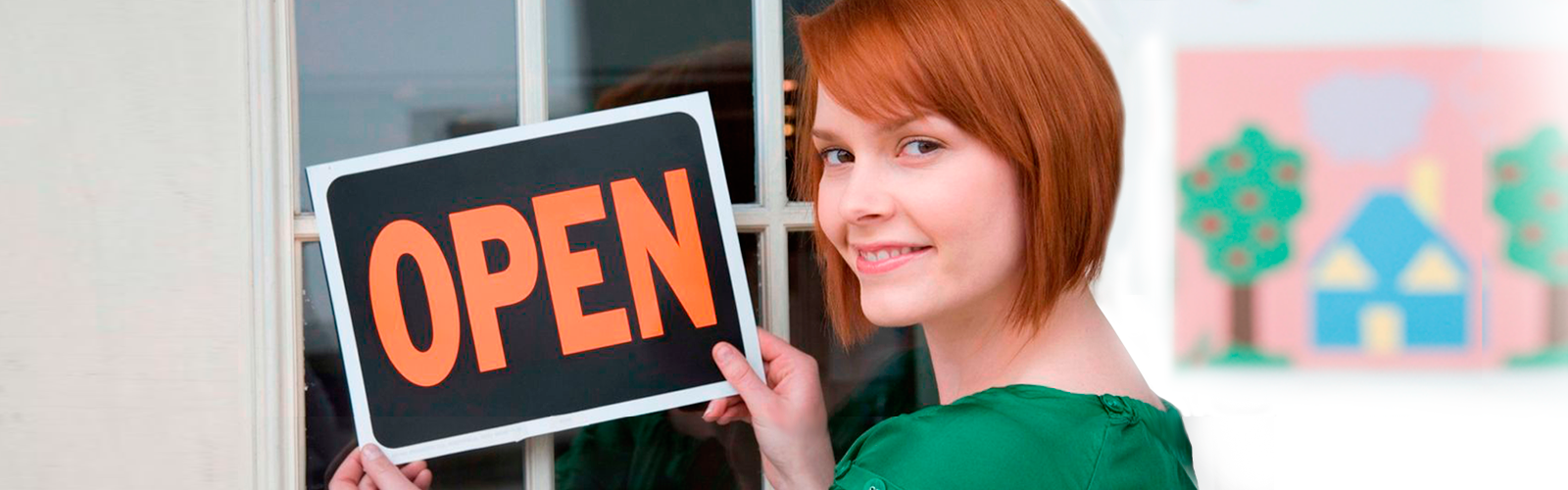 Woman with open sign on door