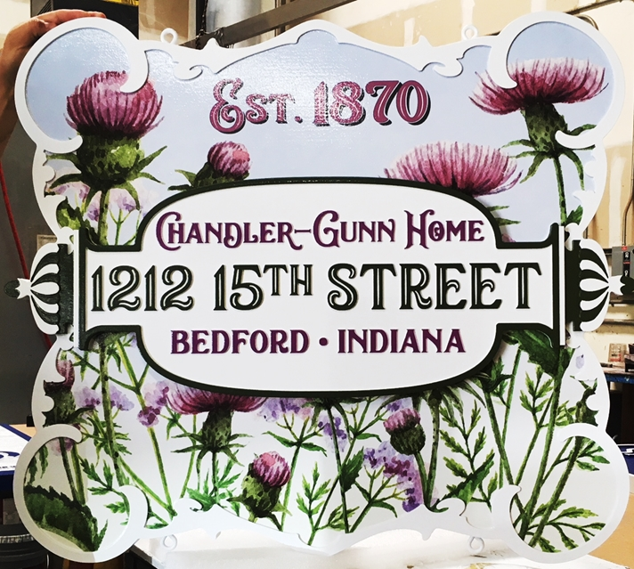 "S28038 -  Carved HDU Commercial Sign for the ""Chandlee-Gunn Home"" , 2.5-D Artist-Painted with Giclee Thistles Print"