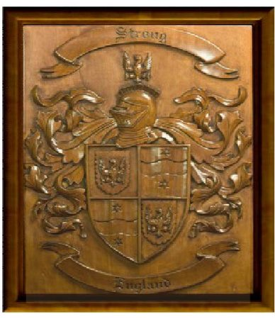 Y34526 - Carved 3-D (Bas-Relief)  Copper-Coated HDU Wall Plaque for  Coat-of-Arms