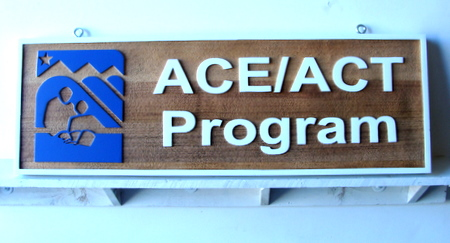 FA15595 - Carved Wood Sign for ACT Testing Program