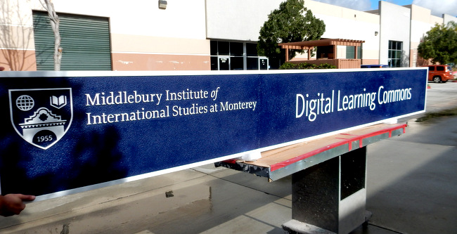 "FA15564 - Carved and Sandblasted  Sign for ""Digital Learning Commons Study"" of the Middlebury Institute of International Studies, 2.5-D"