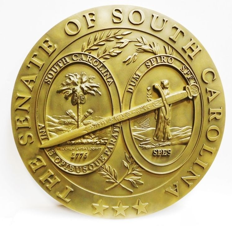 W32448 - Carved 3-D HDU  Plaque of the Seal of the Senate of the State of South Carolina