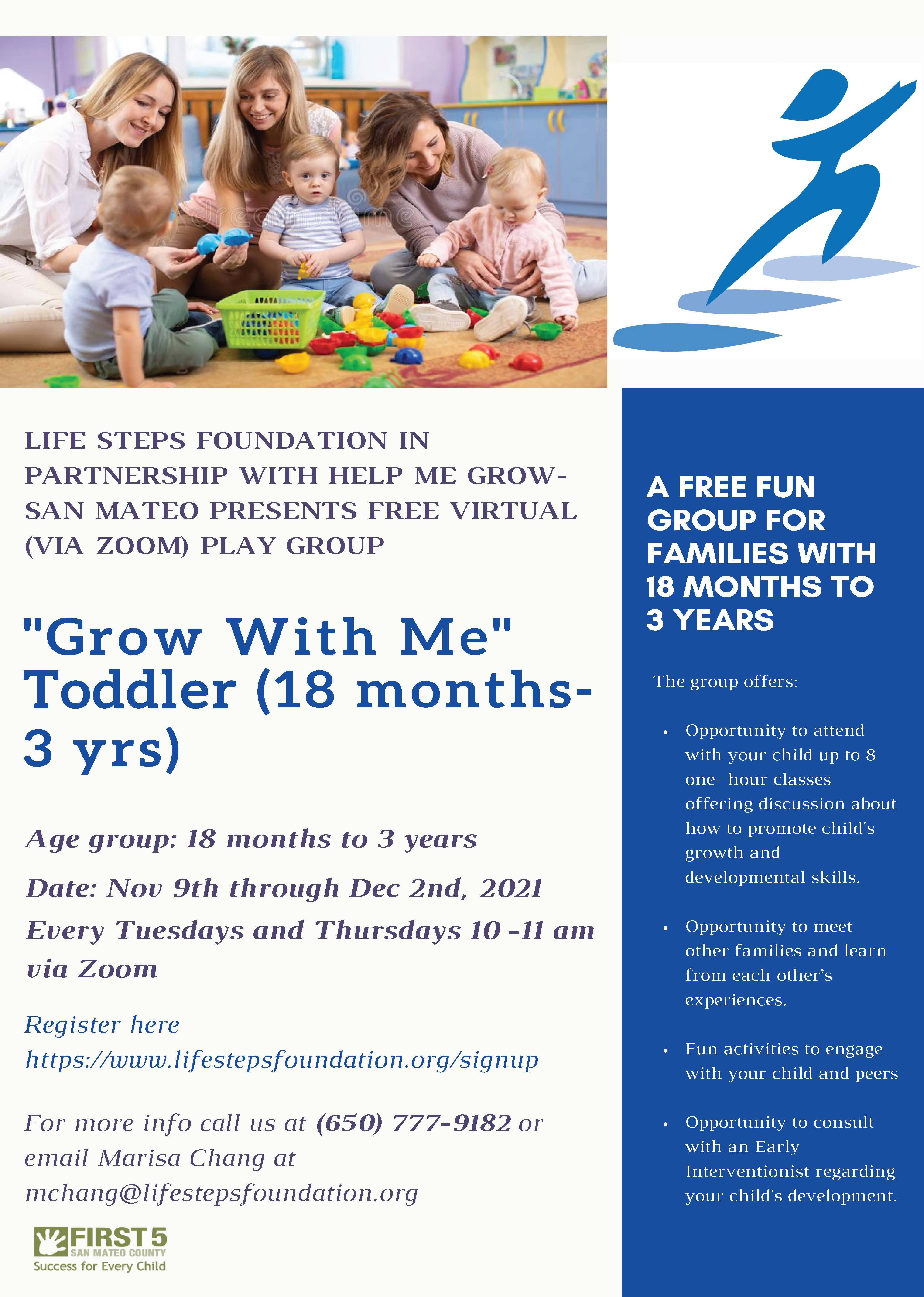 Grow With Me Toddler Session - Runs from November 9 to December 2, 2021