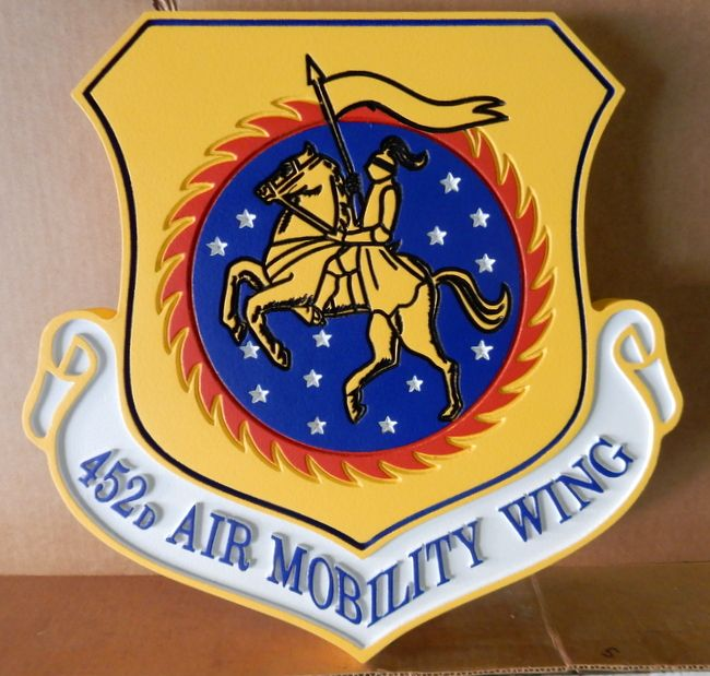 V31599 - Carved Shield Wall Plaque for the Crest of the USAF 452nd Air Mobility Wing