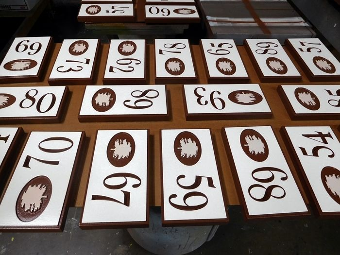 KA20875- Carved Engraved Unit NumberSigns for an Apartment  Community