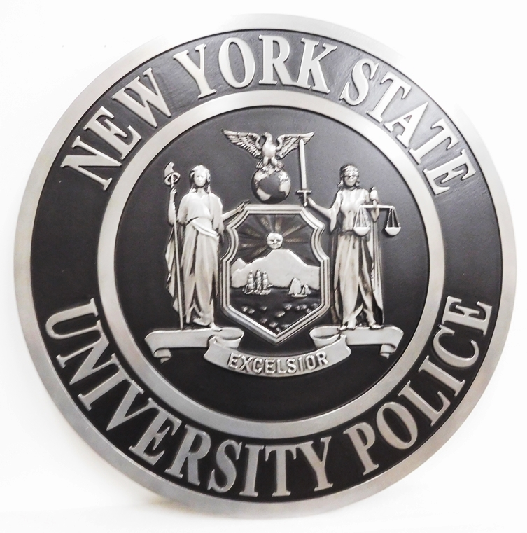 X33473 - Metallic Silver  Badge of the Police Department of New York State University, with Rubbed Black Paint