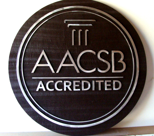"FA15580 - Wall Plaque for a University, Stating ""AACSB Accredited"", 2.5-D  Stained Cedar with Polished Aluminum Overlay"