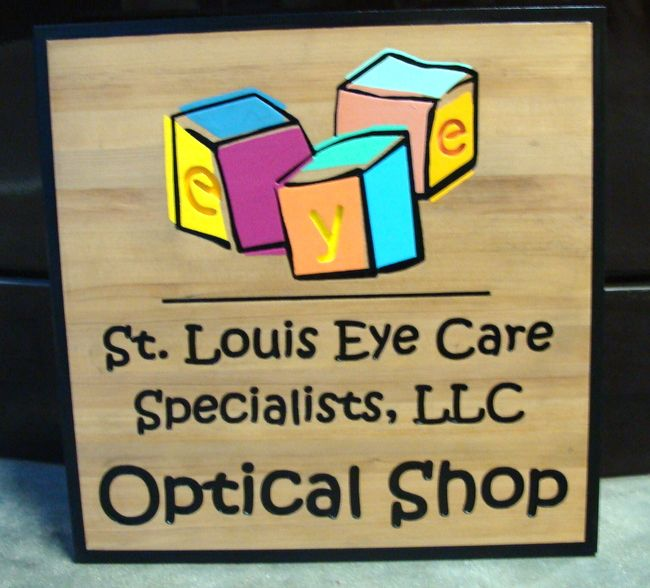 SA28448 - Engraved Cedar Wood Sign for Eyecare Specialists, Optical Shop