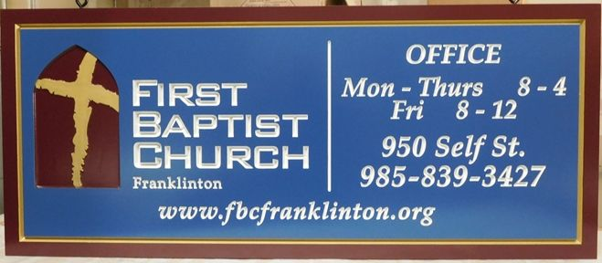 "D13018 - Engraved  Sign for the ""First Baptist Church"""