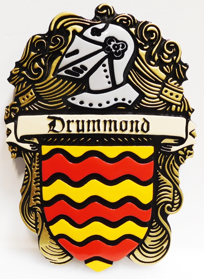 X-3035 - Coat-of Arms for the Drummond Family, with Helmet and Shield