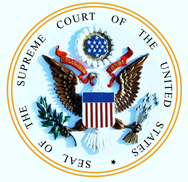 U30124 -  Carved 3-D Full Color  Wall Plaque of the Seal for the US Supreme Court (Version 2)