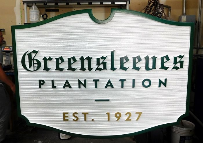 O24033 - Carved and Sandblasted 2.5-D HDU sign for the Greensleeves  Ranch