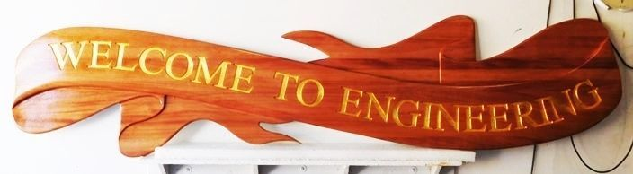RP-1880 - Carved Entrance Plaque for Engineering,  Coast Guard Academy, Mahogany Wood