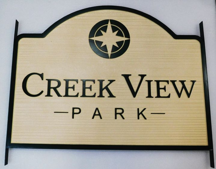 GA16467 - Carved and Sandblasted Wood Grain High-Density-Urethane (HDU)  Sign for Creek View Park