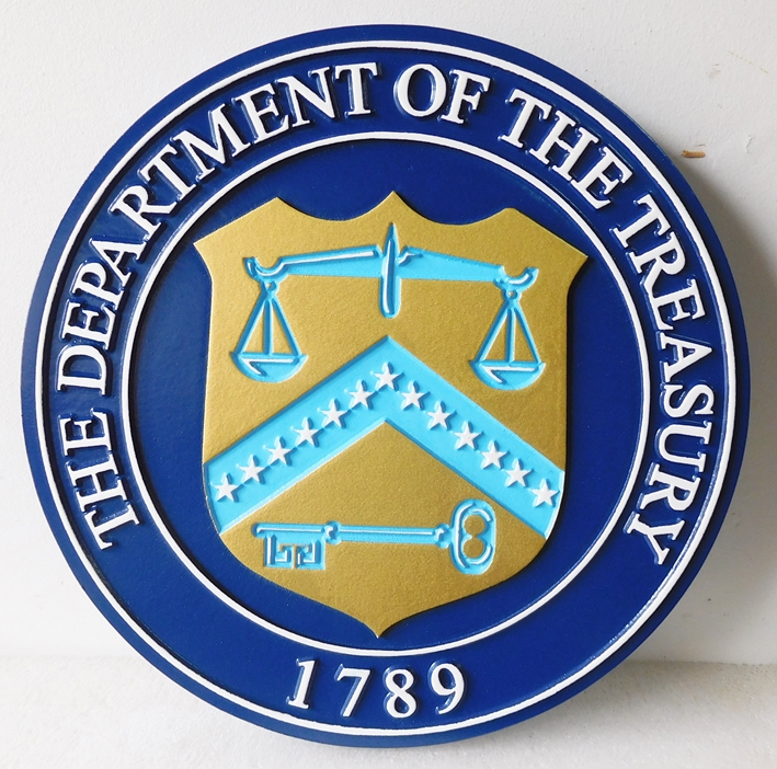 U30179 - Department of the Treasury Seal Carved 3-D Plaque