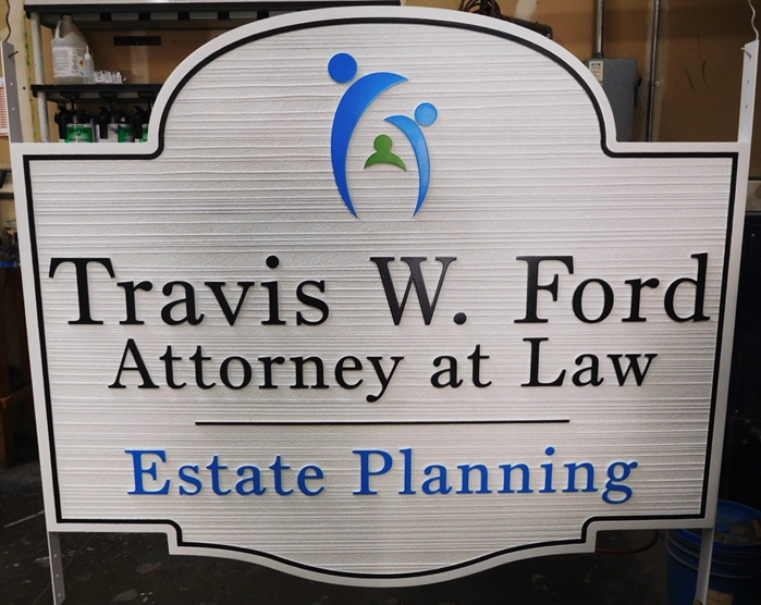 A10040 - Carved, wood grain HDU Sign for Attorney at Law Estate Planning