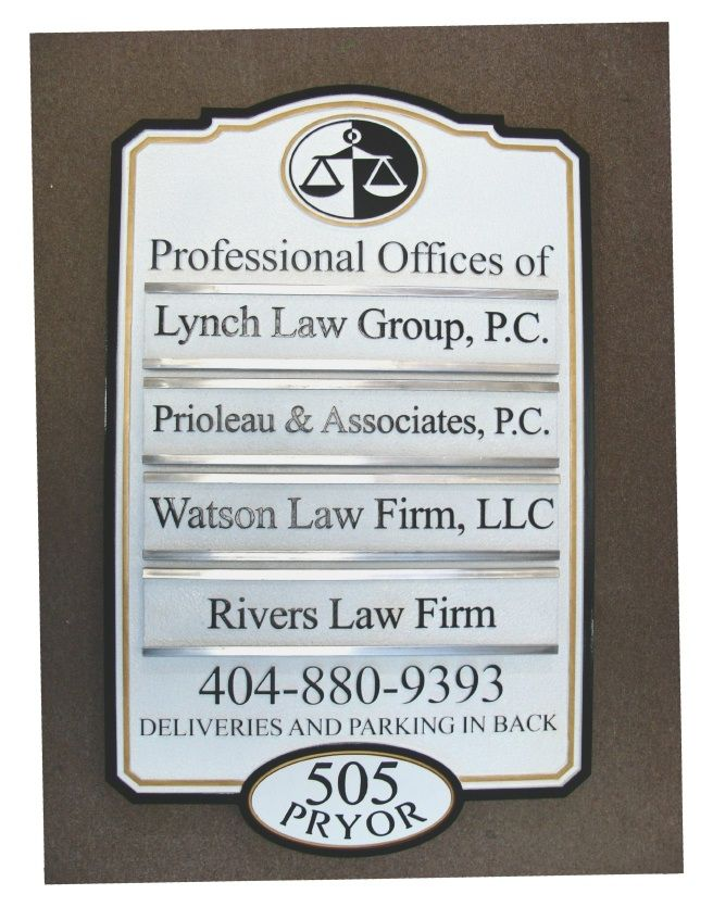 A10630 - Attorney Office Directory Sign with Changeable Nameplates