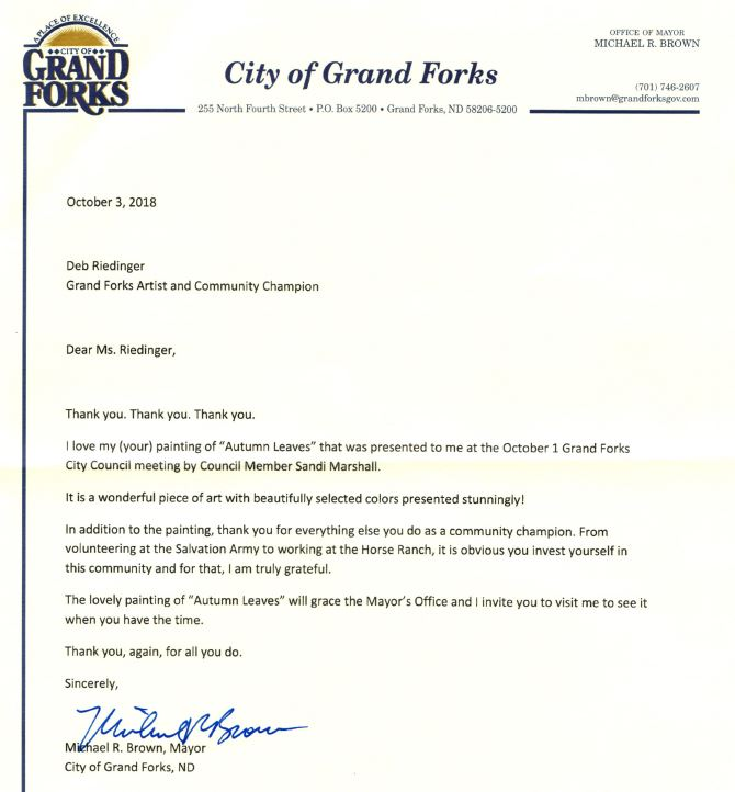 Artwork Receives Honor from Grand Forks' Mayor