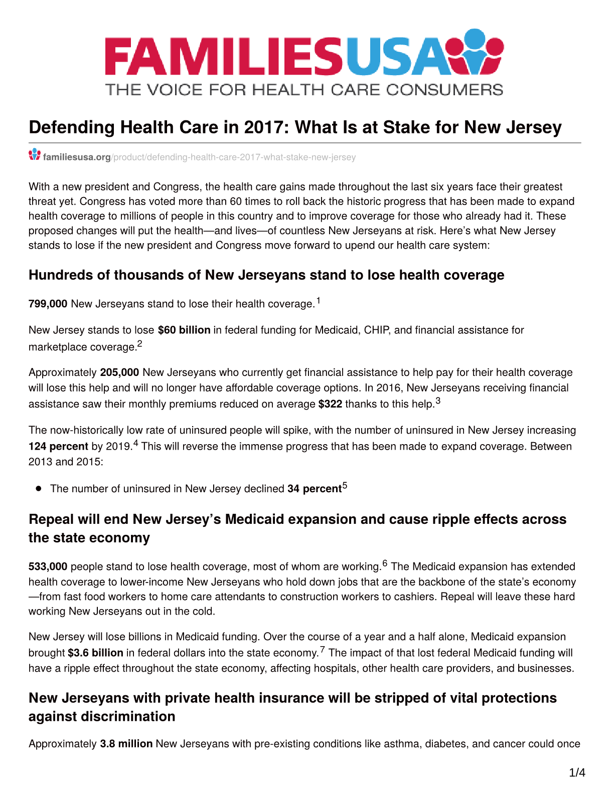 Defending Healthcare in 2017 - What is at Stake for New Jersey?