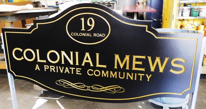"K20140 - Elegant carved  HDU ""Colonial Mews "" Entrance Sign for Private Community, 2.5D Engraved"
