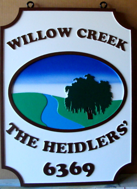 "M22002 - Carved Property Name and Address Sign for  ""Willow Creek"