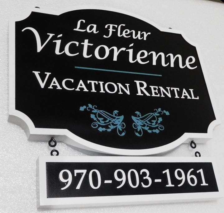 "T29023 - Carved Sign for the ""La Fleur Victorienne"" Vacation Rental, 2.5-D with Rider Sign Below Main Sign"