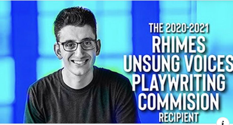 A picture of Ryan Haddad, he is wearing a black shirt and glasses. There are some text to the right of him. Also, there is a blue background in the back of him.