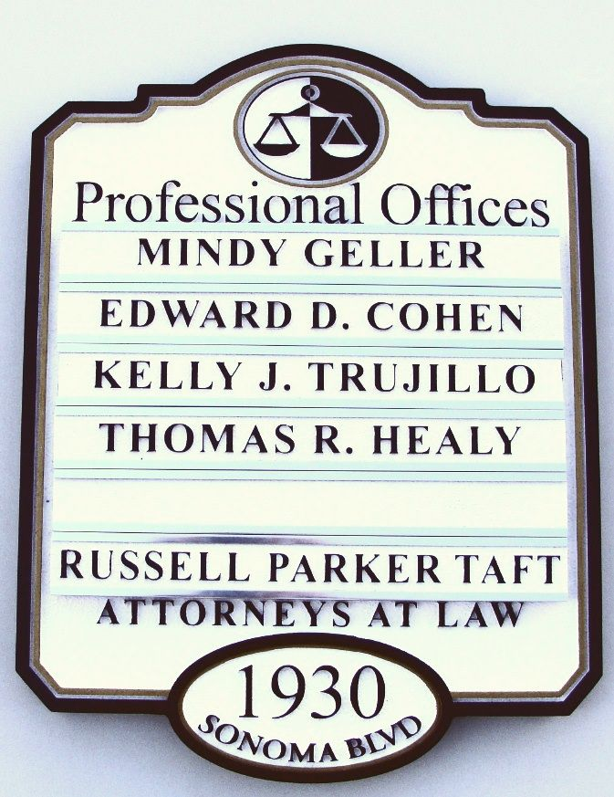A10605 - Law Office Directory Sign with Changeable Nameplates