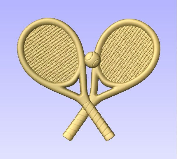 """GB16891 - Carved  3D """"Off the Shelf""""  Tennis Rackets & Ball  Applique  for Tennis-themed Sign."""
