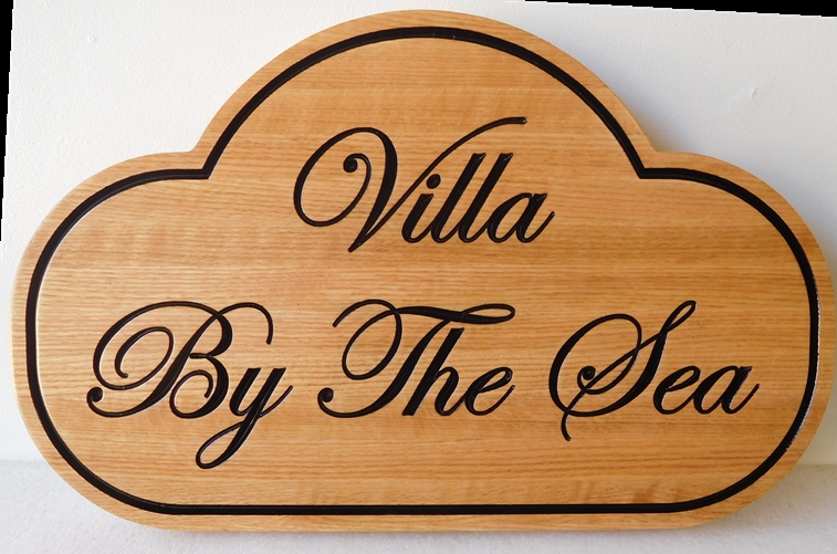 """L21983A - Residence Sign """"Villa by the Sea"""", Carved from Western Red Cedar Wood  Naturally Finished"""