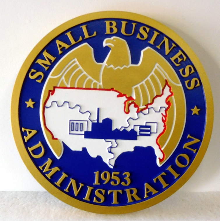 AP-5040 - Carved Plaque of the Seal of the US Small Business Administration,  2,5-D Flat Relief,  Artist Painted in Full Colors