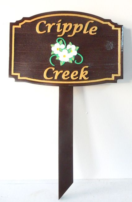 M22028  Painted Wood Sign for Cripple Creek, with Dogwood Flowers