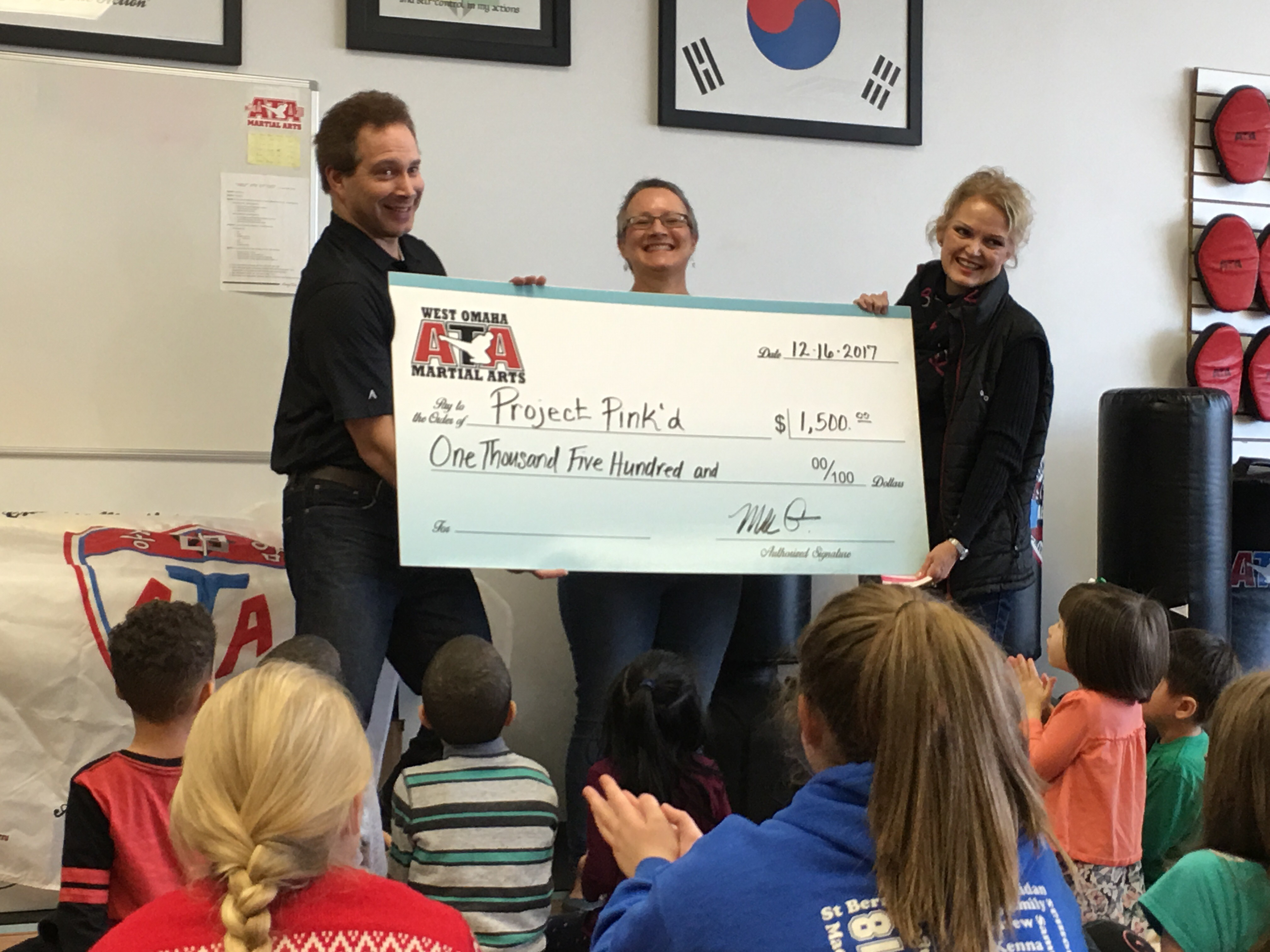 West Omaha Martial Arts Donates $1500 to Project Pink'd