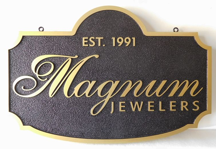 "SA28076 - Carved and Sandblasted High Density Urethane Sign for ""Magnum's Jeweler's"""