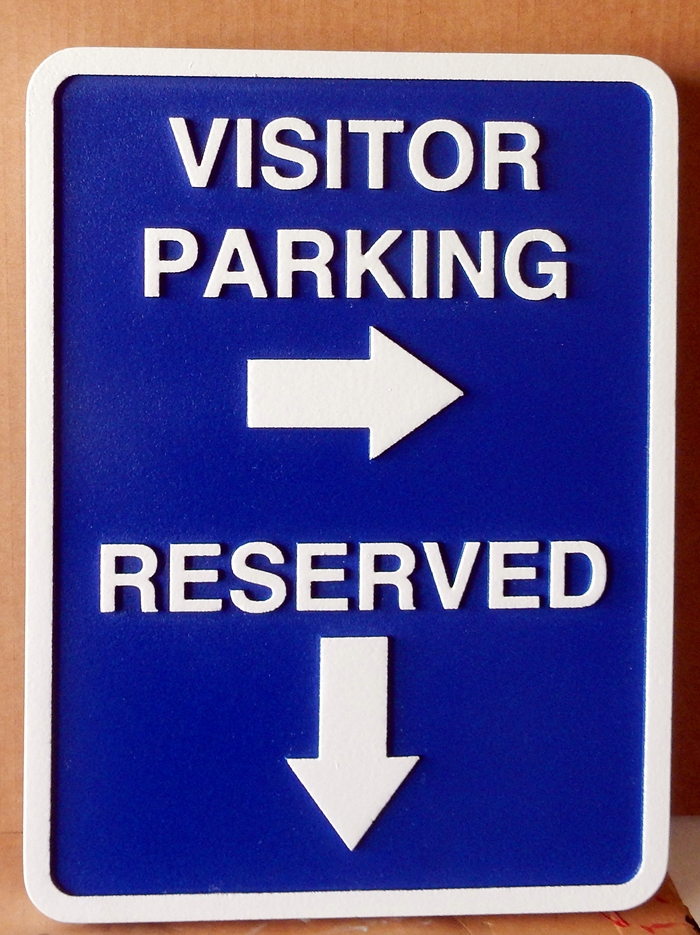 KA20682 - Carved HDU Sign for Visitor and Reserved Parking, with Arrows